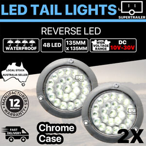 2x Round LED Tail Light Trailer Truck Camper UTE Caravan 10-30V reverse Chrome