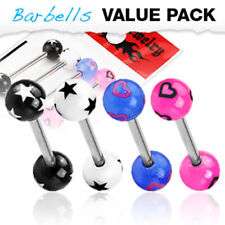 4 Colors Star & Heart Acrylic Balls Surgical Steel Barbells Tongue Rings Pack