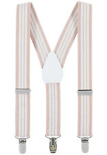 "New 1"" Beige/White Striped Suspenders Baby, Kids, Boys Elastic Adjustable - Made"