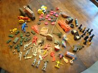LOT VINTAGE TOYS TRACTORS ARMY CLOWN TOOLS FIGURES GAME PCS TOP FIRE TRUCK ++