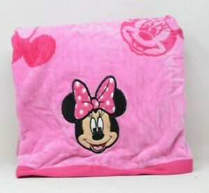 """Disney Minnie Mouse Embroidered Beach Towel 34""""X63"""" Pink 100% Cotton"""