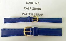DARLENA QUALITY BLUE PADDED CALF LEATHER STITCHED ENDED WATCH STRAPS SPECIAL