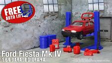 Ford Fiesta MK4 Diecast Model Car+2 post Auto Lift+Garage miniature diorama 1:64