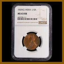British India 1/4 (Quarter) Anna, 1929 (C) Calcutta NGC MS 63 RB King George V