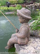 Fishing Boy Cast Stone Statue-sculpture/pond-garden decor/accent-statuary-kid