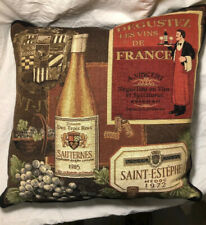 Vintage Pillow French Wines Bottle Tapestry Hines of Oxford England Throw Sofa