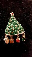 Vintage Danecraft Dangle Presents Christmas Tree Signed Pin Free Shipping