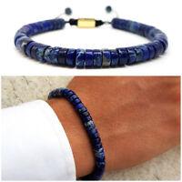Bracciale uomo pietre dure naturali in pietra blu con diaspro da braccialetto