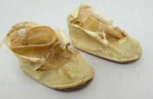 """Antique Playhouse Doll Shoes and Socks~3""""~Jullien~Size 5-6~Light Brown~Orig Box"""