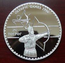 "Mongolei: 250 Tukhrik ""Olympiade Atlanta 1996"" 1995 - PP/Ag. !!"