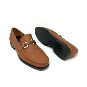 Salvatore Ferragamo Men's 'Grandioso' Brown Leather Gancini Buckle Loafers Shoes