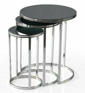 3er Set Beistelltisch Couchtisch Zigon Rund Silber Schwarz Glas Sehpa BT0211