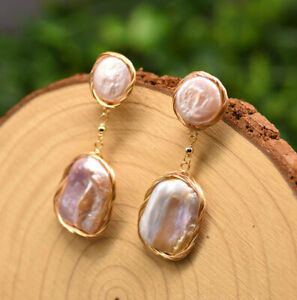 B15 Gold Plated Earrings Baroque Pearls Fresh Water Purple Pink