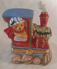 PRISCILLA HILLMAN, Cherished Teddies, Train Engine Trinket Box, 1998 Enesco Corp