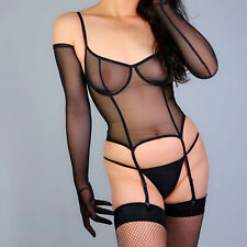 """Tulle Long Gloves Stretchy Lace Mesh Semi Sheer TECH Touchscreen Black White 28"""""""