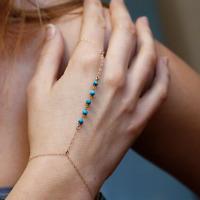Elegant Women Lady Turquoise Beads Finger Ring Hand Harness Charm Chain Bracelet