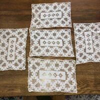 """Antique Lace Filet Hand Crochet 10"""" x 14"""" Rectangle Doily Placemats Cream Ecru"""