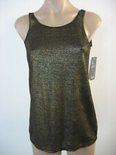 EILEEN FISHER Black Gold Linen Jersey Shimmer Long Slim Tank Top Medium NWT $118
