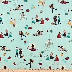 Michael Miller Little Stitches Sewing Fabric Aqua/ Blue 100% Cotton