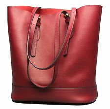 Covelin Womens Handbag Genuine Leather Tote Shoulder Bucket Bags Large Capacity