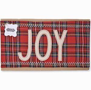 "New Mud Pie Classic Christmas Tartan Plaid JOY Pillow Wrap 7""x31"""