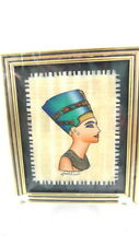 "Framed Papyrus Painting QUEEN NEFERTITI Made In Egypt 4"" x 4.5"""