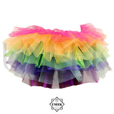 Ladies Bright Rainbow Layered Tutu Skirt - LGBT Colour Fancy Dress Outfit