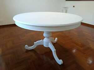 Table Art Povera Round White Color Matt D.120 , 1 Extensions 40 CM