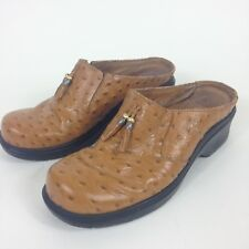 ARIAT Brown Leather Ostrich Type Slip Ons Mules Clogs Women's Sz 8.5B 93841