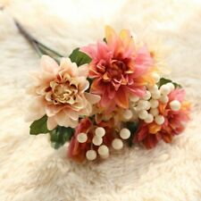 Silk Dahlia Flower Artificial Wedding Bride Bouquet Fake Floral Simulation Decor