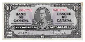 1937 Bank of Canada 10 Dollar Bill(Osbourne/Towers)