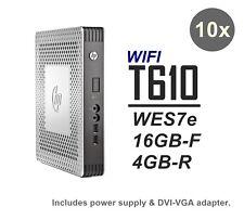 10x Lot - HP t610 Thin Client WIFI 16GB-F 4GB-R WES7e C1C06UA#ABA + PowerAdapter