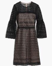 NWT JCREW $188 Bell-sleeve daisylace dress Size16 In Bkack G7801 FA17