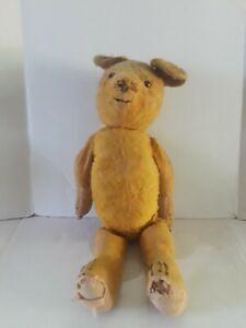 "Vintage Antique Honey Mohair Teddy Bear 24""-25"" Paper/straw/wood"
