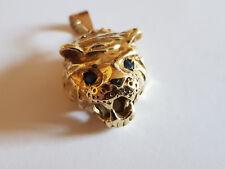 Raubtierkopf Löwen Tigerkopf Gold 585 massiv schwer mit Saphir Augen plastisch