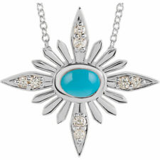 """Genuine Turquoise & .08 cttw Diamonds Celestial16-18"""" Necklace in 14K Solid Gold"""
