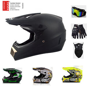 ASNZS Motorcycle Open Full Face Helmet Motocross Dirt Bike Helmets Goggles M L