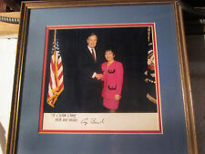 President George H.W. Bush & Cecelia Chang Framed Autograph Photo