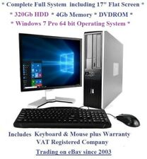 "Fast Cheap HP Core 2 Windows 7 Complete Set 17"" Monitor Desktop Computer PC"