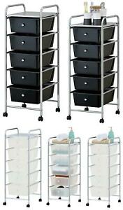 5 Drawer Mobile Storage Solution Trolley On Wheels Beauty Salon Office Toys