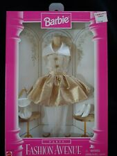 """1996 BARBIE """"Party Fashion Avenue"""" Outfit Gold Lame Cocktail Dress MIB NRFB"""