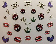 Nail Art 3D Decal Stickers Halloween Vampire Teeth Skull Mask Crown TJ119