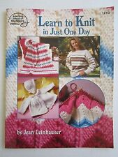 Learn to Knit in Just One Day Booklet Sweater Afghan Baby Jacket Hat Projects
