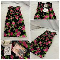 Betsey Johnson Sheath Dress Sz 2 Black Pink Floral NWT $330 YGI O1-25CG