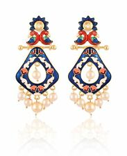 Designer Stylish Indian Fashion Jewelry Gold Plated Pearls Women Earrings Set