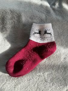 Wool socks with a deer pattern made in Russia