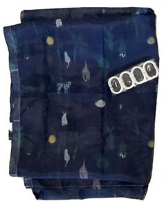 Navy Blue Green Polyester Nautical Shower Curtain With 12 Rings NWOT