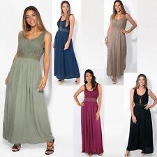 Women Boho Maxi Dress Gown Soft Cotton Long Pleated Flared Gypsy Summer Festival