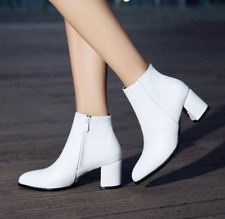 Fashion Womens Ankle Boots Block Chunky Heels Booties PU Leather Shoes