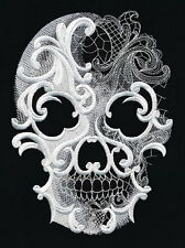 Embroidered quilt block,fabric,cushion panel,wall art, skull,baroque,ghost,goth